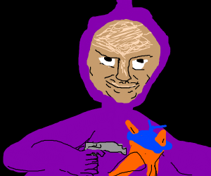 Teletuby holds Swiper at gunpoint