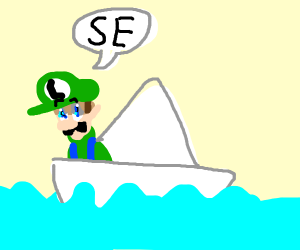 """Man in a paper boat says """"SE"""""""