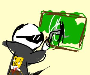 cool guy scratching chalkboard