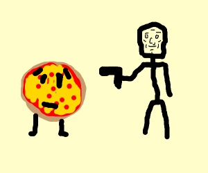Pizza is getting murdered by a a handsome man