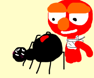Elmo wants to eat cute spider
