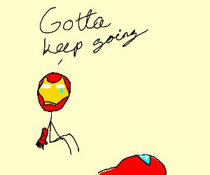 Iron Man picking himself up after crashing.