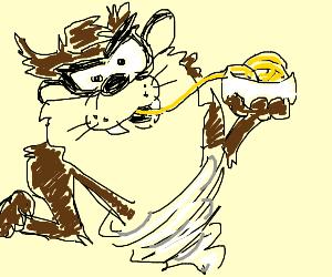Tasmanian Devil eating Noodles
