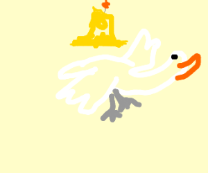 Goose flying with a Candle