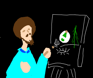 bob ross painting his alcohole adiction