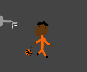 Black guy with basketball
