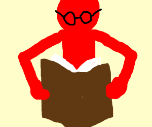 A red man reading