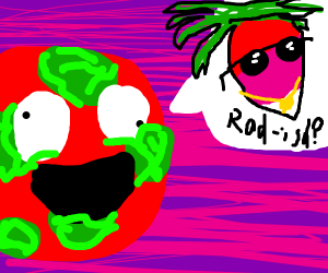 A spotty red ball say radash