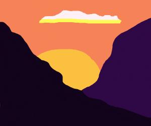 Sunset over mountaintops