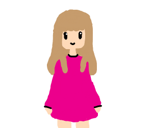 girl with pink dress and brown hair
