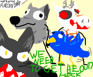 Wolf tells a bird to leave Furrycon