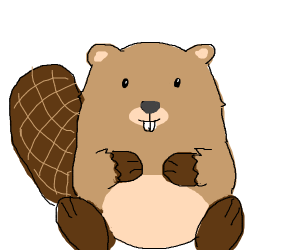 Beaver with happy tail.
