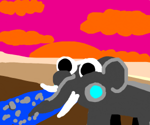 An elephant sucking up an entire river