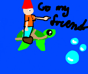 Gnome riding a sea turtle