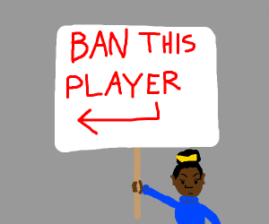 Girl protests against the player before her
