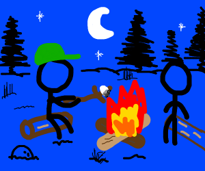 two people at a campfire