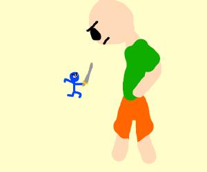 small stickman ninja attacks a giant stickman