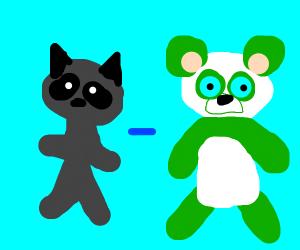 Raccoon equals Green panda