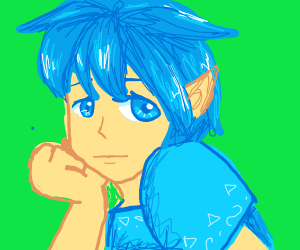 Blue haired elf daydreams
