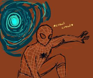 spiderman crawls from a portal