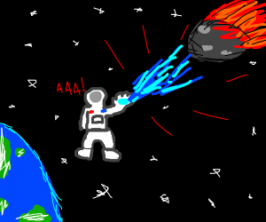spaceman tries to stop asteroid