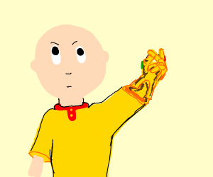 caillou has the infinity gauntlet