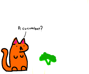 Cat thinks broccoli is a cucumber?
