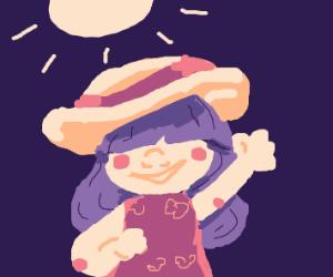 Girl in a big floppy sun hat