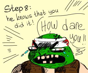 Step 7: Shrek's ears get amputated