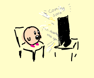 Kirby watches a trailer for... something