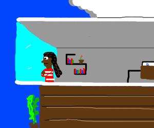 Black woman near big window