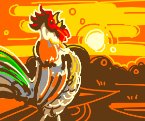 Rooster in front of sunset
