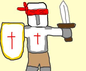 Crusader is blindfolded