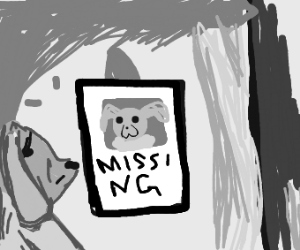 Sad dog looks at missing poster for itself