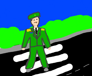 General crossing the Road
