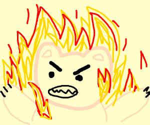 Pink Bear on Fire