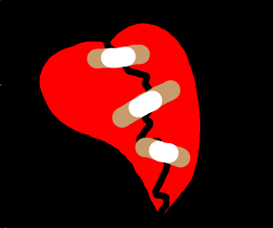 Broken heart with band-aid