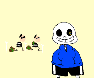 thief's with money bags behind Sans