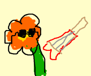 Rockn'Roll flower with shades + guitar