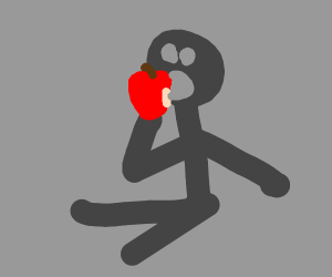Stickman eating an apple