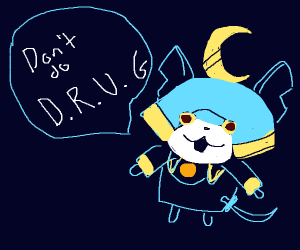 Yokai charater says not to do the D.R.U.G