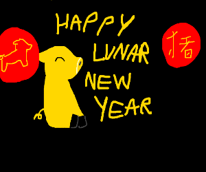 Yellow pig you a happy new lunar year