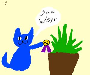 Blue cat gives flower a medal