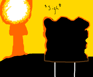 Spongebob sees explosion in sky and sighs