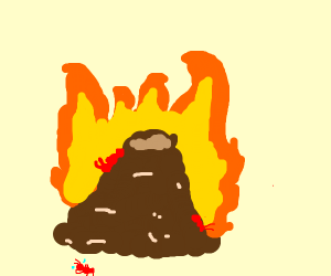 burning ant hill