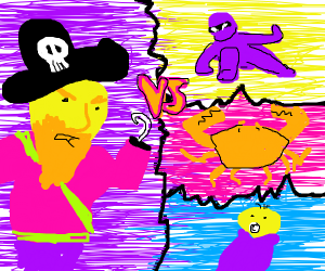 a pirate vs a ninja, a crab, and a baby