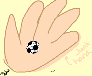 A tiny football in a giant hand