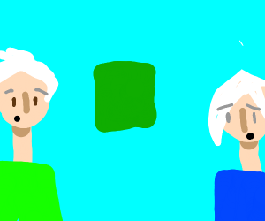 Two White-Haired People Stare At Cloth