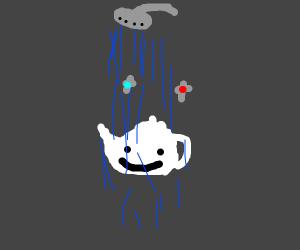 a teapot taking a shower