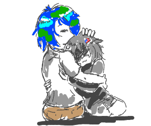 Earth-chan hugging Moon-chan